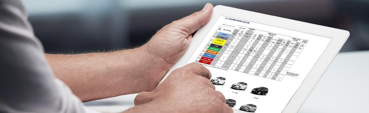 Man consulting Peugeot prices and specs brochure